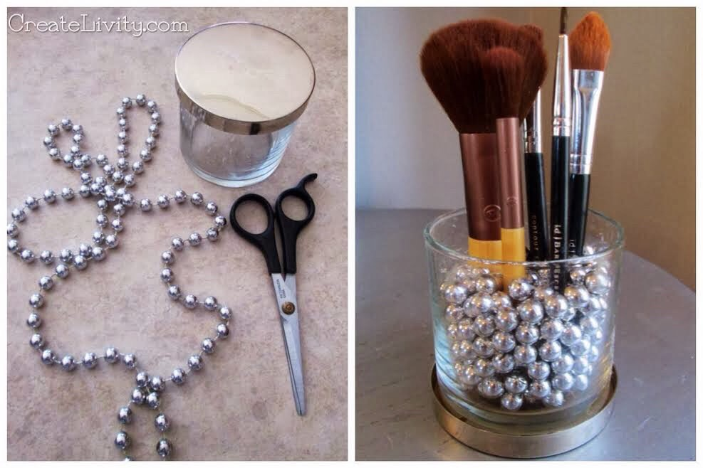 Take a candle container and use it as a brush holder. You can even decorate it