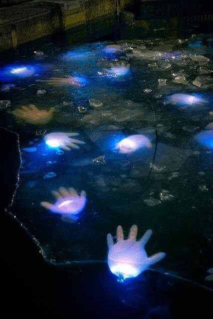 Glow stick floating hands