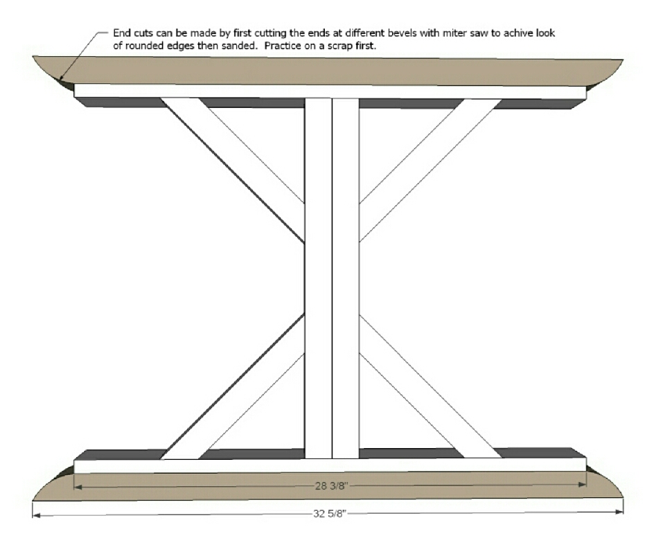 """Step 4 Instructions:  And then add the curved pieces. The ends are going to be a challenge – what I do is first cut a 2x4 32 5/8"""" long with both ends cut at 30 degrees off square, ends not parallel."""