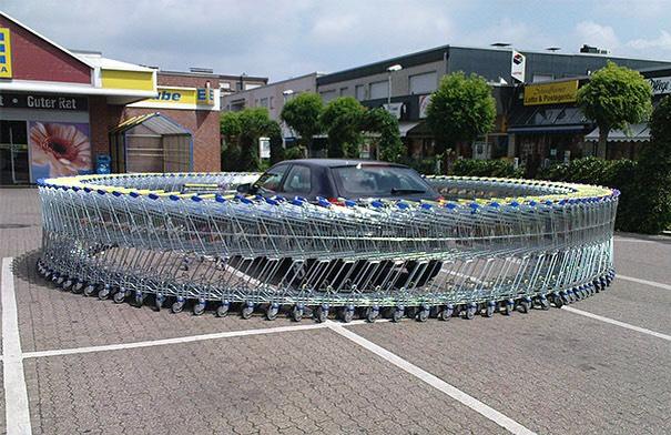 Circle of shopping carts around their car