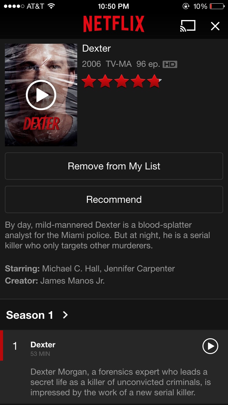 Dexter  personal rate: (unwatched)