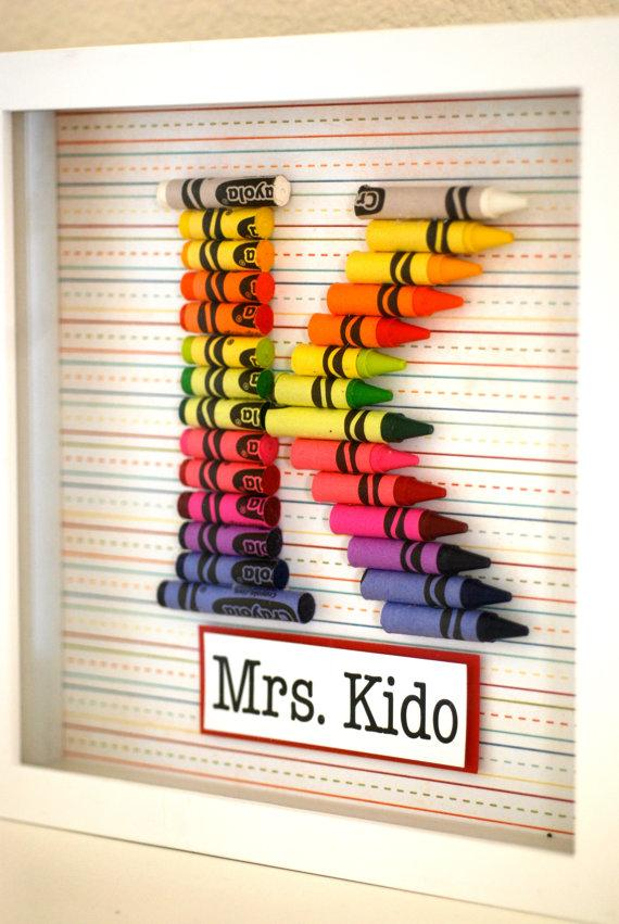 Letters.  Feature the letter of your kids teachers last name or your own.  What a great way to personalize a gift.