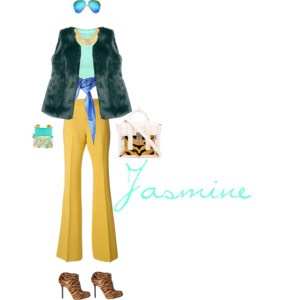 Jasmine is such a fierce princess! She is truly a great role model for little girls all over the world to stand up and take charge of their own destinies, and I made sure to create this outfit to be as stunning and ferocious as her! I also tried to incorporate more of the gold from her jewelry.