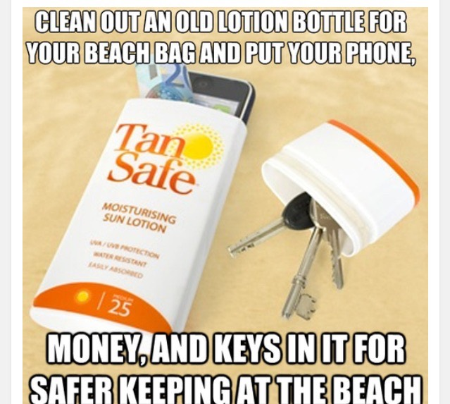 When I go to the beach I'm always worried about my money or keys or phone getting stolen so then I go through the process of trying to find a good hiding spot for my stuff This step is an easy activity to do that is  super creative and  helps you easily hide your valuable possessions.