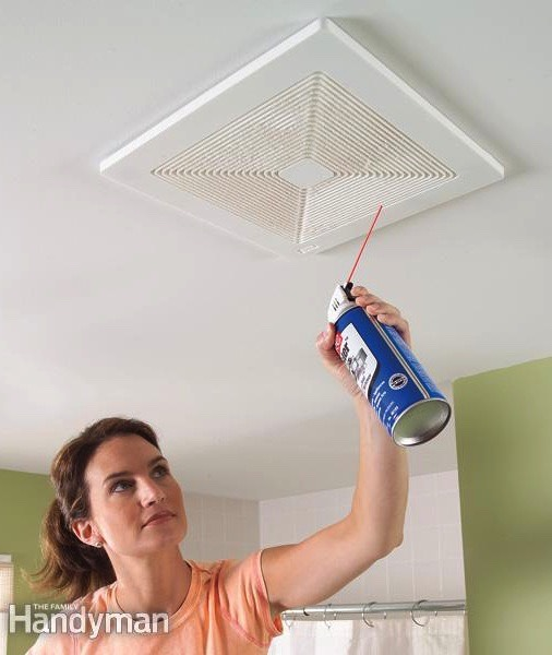 10.Cleaning A Bathroom Exhaust I'm not sure that I've ever done this before — oops! I pay extra special attention to my bathrooms when I clean, but the ceiling is the last thing on my mind. Make the job easy with a blast of canned air! My hubby uses this stuff for his keyboard.