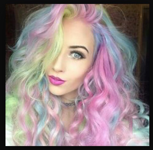 Pretty green pink and blue highlights