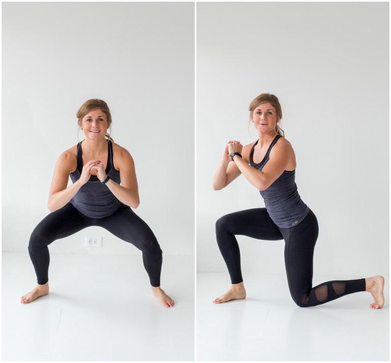 squat + knee drop or squat + lunge