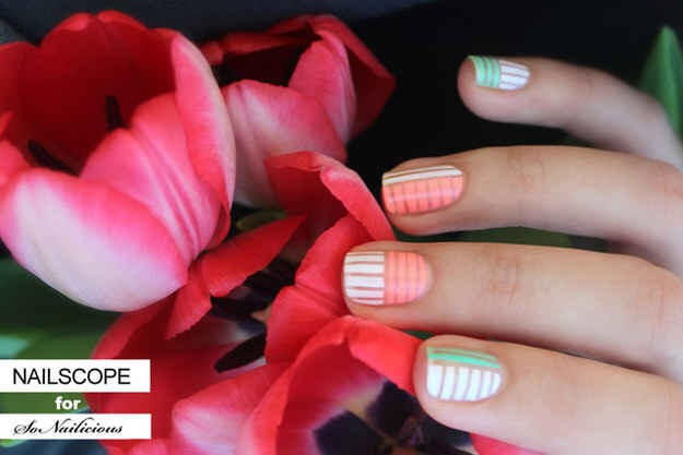 --> Pastel striped manicure