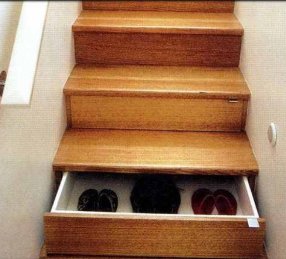 Stairs with storage underneath to store precious items ! Burglars won't think to look here!