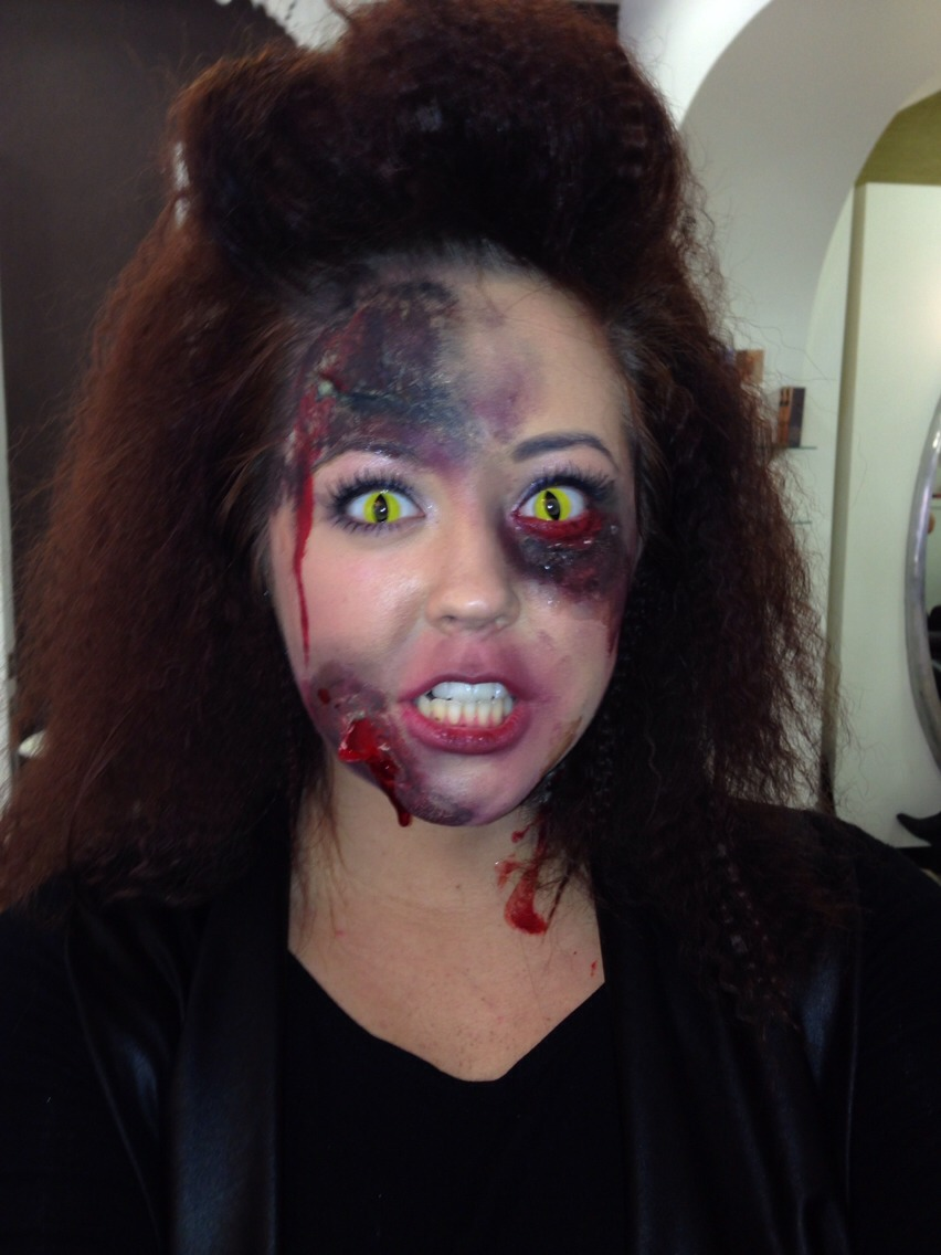 Finish off by dripping fake blood on the open parts of where you placed the liquid latex