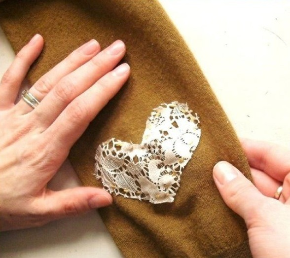 Follow these steps to make this cute lace heart patch....