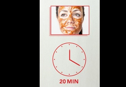 Apply the delicious scrub to your face and leave on for 20 minutes!