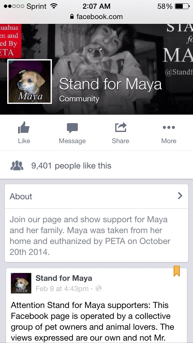 """This is a Facebook page for a family who had their dog STOLEN and KILLED by PeTA. What they got as an """"i'm sorry"""", a fruit basket! Disgusting!! 😿😿  Link to the page: https://m.facebook.com/esvamaya?refsrc=https%3A%2F%2Fwww.facebook.com%2Fesvamaya"""