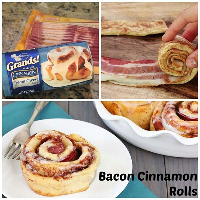 This may sound crazy, but add bacon into cinnamon rolls before baking to get this explosive breakfast snack.
