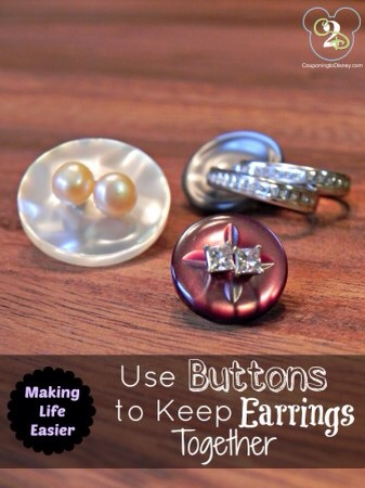 Buttons for Earring Storage Have extra buttons? Use them to keep your earrings together!