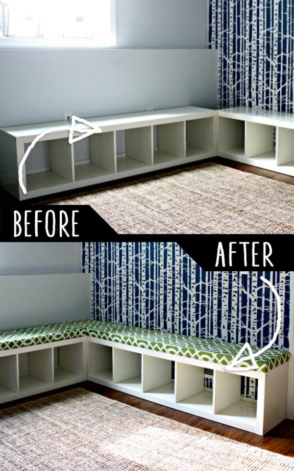 Padded Bench Out Of Bookshelf  http://www.iheartorganizing.com/2012/04/playroom-progress-sweet-seating-part-1.html