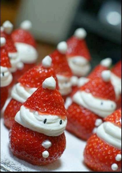 "Place two chocolate sprinkles in the Santas ""face"" for the eyes. Using a toothpick, place two very small splotches of whipped cream down the front of the strawberry for buttons."
