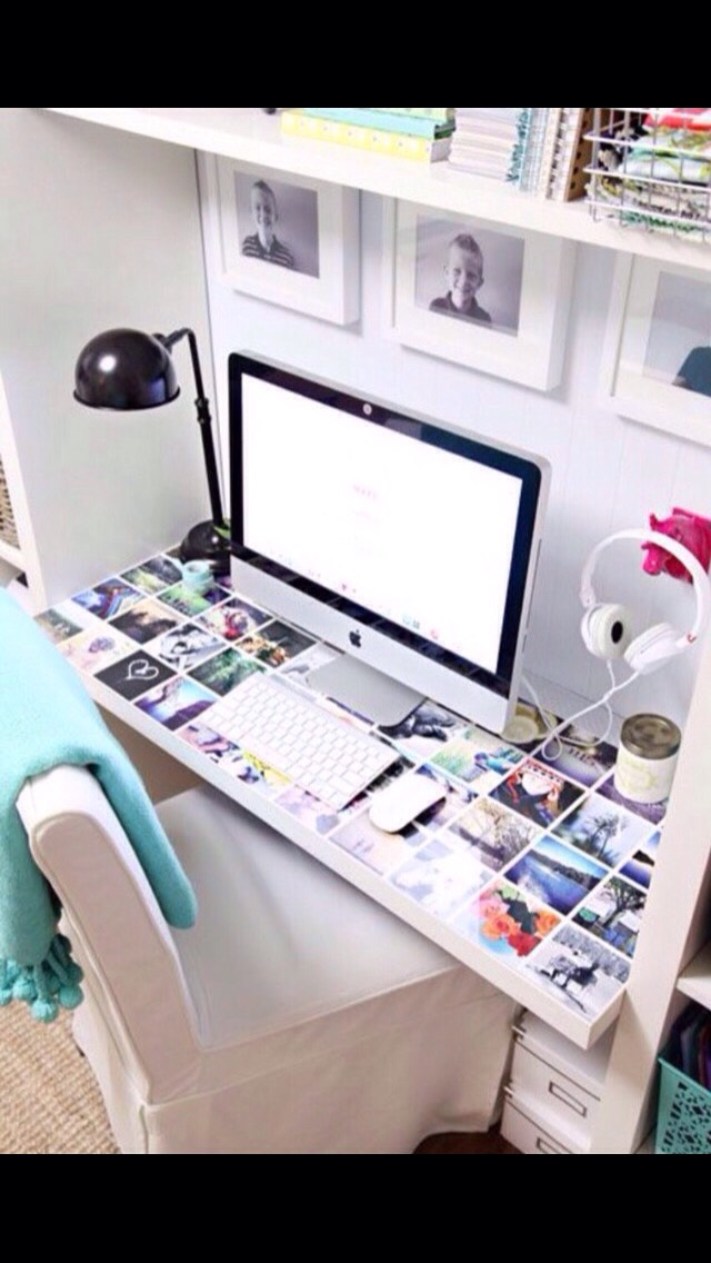 Glue pictures to clear plastic screen, then add another screen on top when done for a cute desk makeover!