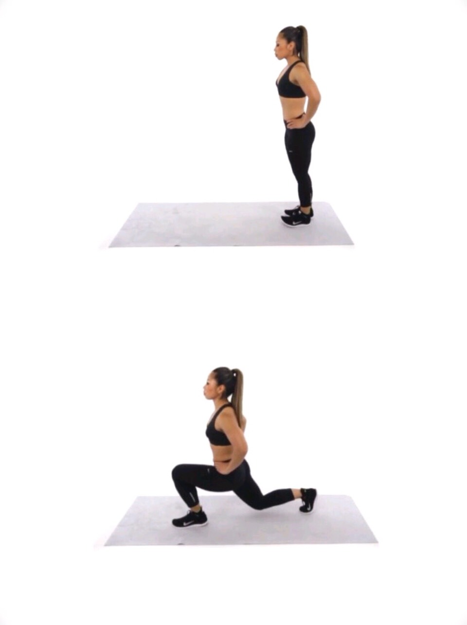 "This move is called, ""Forward Lunge"" - start by standing straight up and putting your hands on your hips.  - lunge with one leg in front of you, keeping your hand on your hips to keep balance. - Do each leg 30 times - or more if you'd like."