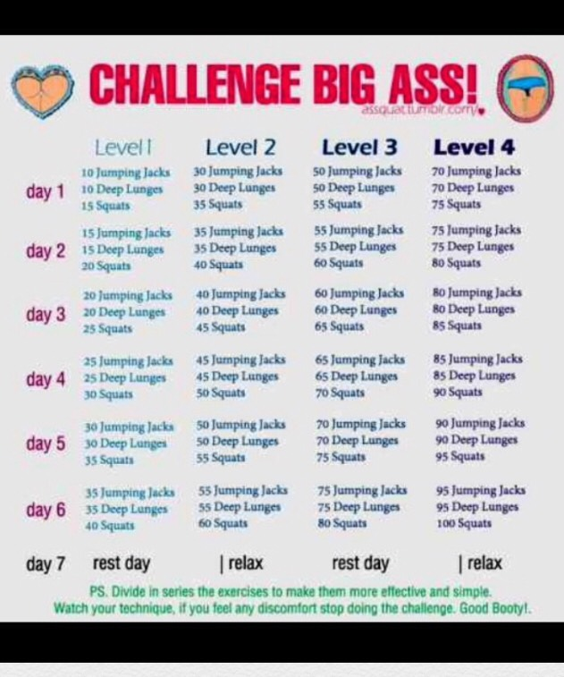 Follow this butt challenge and with other work outs different each day 💁🏽