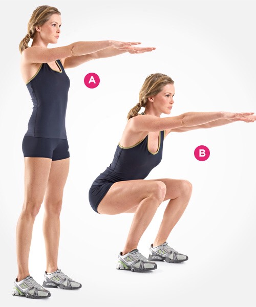 SQUAT: with feet a little more than shoulder width apart, bring your arms straight in from of you and start squatting, reaching your hips back like you're searching for a chair. Keep most of your weight on your heels, and push up back to start position from the heels of your feet not toes. Do 15x