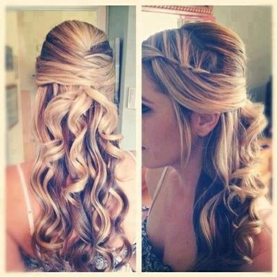 Curled waterfall half up do