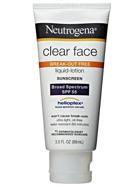 "Neutrogena Clear Face Liquid Lotion Sunscreen Broad Spectrum SPF 55, $13 ""Very effective sunscreen. Leaves skin feeling clean, lightweight. Has matte finish. Use a moisturizer underneath if you have extreme dry skin"""