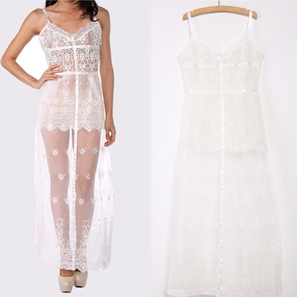 $21.00 http://m.romwe.com/Spaghetti-Strap-Sheer-Lace-Cami-Dress-p-147708-cat-724.html