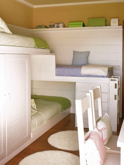 Three-tier Bunks  Short on bedroom space? Add built-in bunk beds for three.