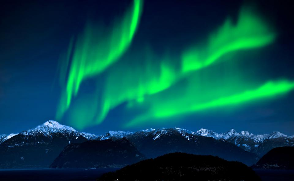 The Northern Lights—the aurora borealis is a natural light display in the sky caused by the collision of solar wind and magnetospheric charged particles with the high-altitude atmosphere. Go north of Fairbanks to get the maximum effect.