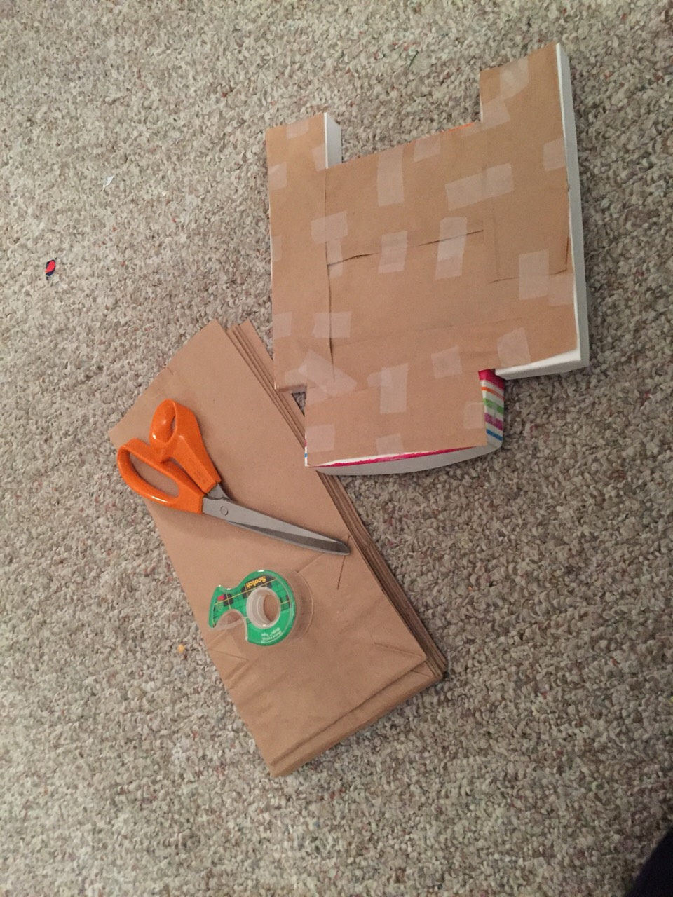 Cover the bottom of the platform with paper bags