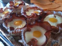 All in one breakfast Line a muffin tin with liners Place your favorite breakfast meat in the liner Crack an egg on top of each Bake at 350 for 18 minutes or eggs are cooked through So cute and so easy