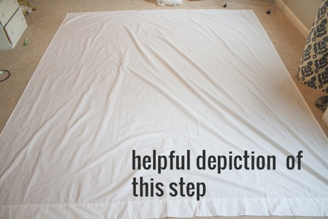 2. Mark your pintucks Lay your flat sheet on the floor, good side down.