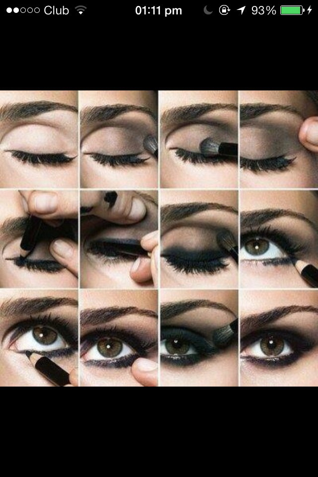 Smokey eyes with pencil eyeliner