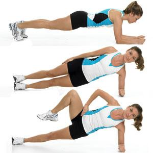 Side Plank with Moving Knee  Tones: Core (especially obliques) and butt