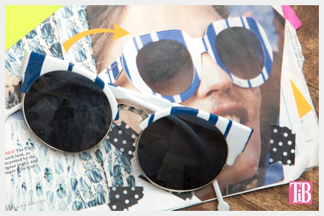 Here's an easy DIY for striped glasses using nail polish! My inspiration to make these sunglasses came from the cute striped sunglasses by Dolce and Gabbana. As much as I love them, for trendy sunglasses I just cant bring myself to pay the price, especially when you can make your own for under $20!