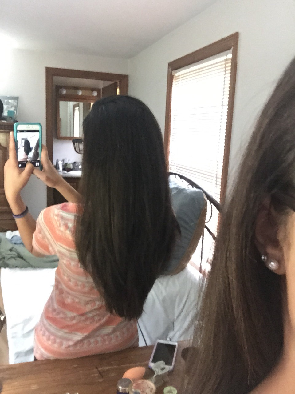 This is my hair length. My hair is also pretty thick. I use 2 eggs, 1/3 cup of olive oil, and 1 teaspoon of mint extract or cinnamon. Adjust the measurements based on the length and thickness of your hair.