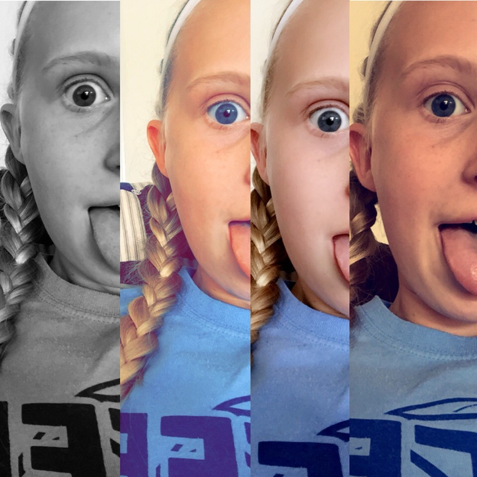 Take 4 diffrent filter pictures in the same spot. Your eye color will really pop in these pictures.